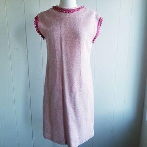 1960s Unlabeled Pink/White Poly/Cotton Knit Dress